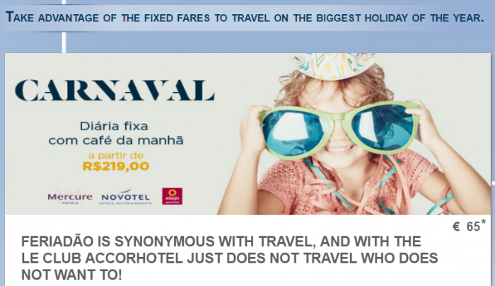 Le Club AccorHotels Fixed Price Brazi Carnival Sale For Stays February 24 - March 5 2017