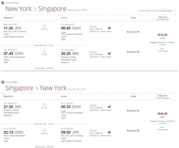 Qatar Airways Privilege Club Quintuple Miles One Day Only Travel Festival JFK-SIN