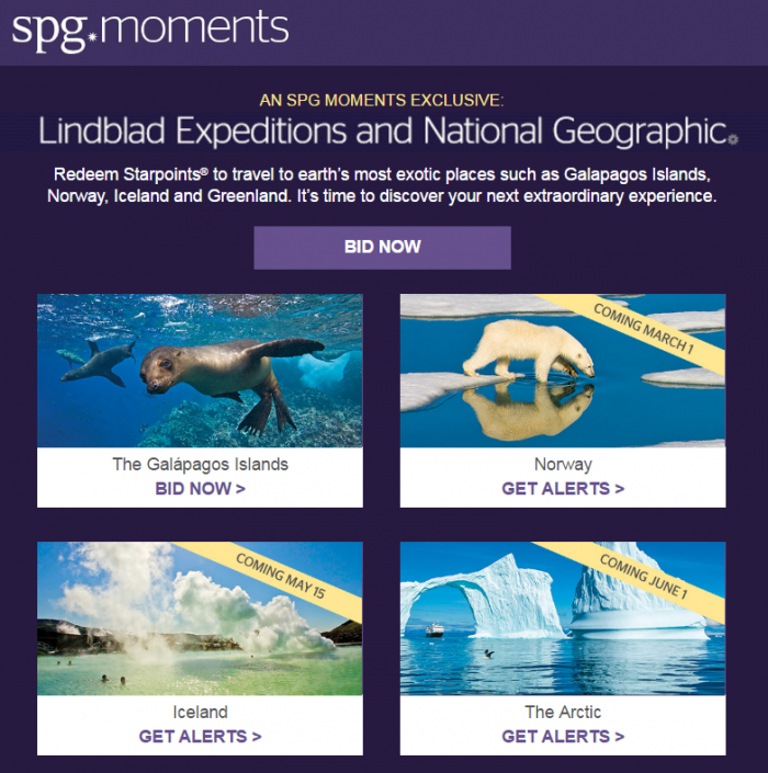 SPG Moments Lindblad Expeditions & National Geographic
