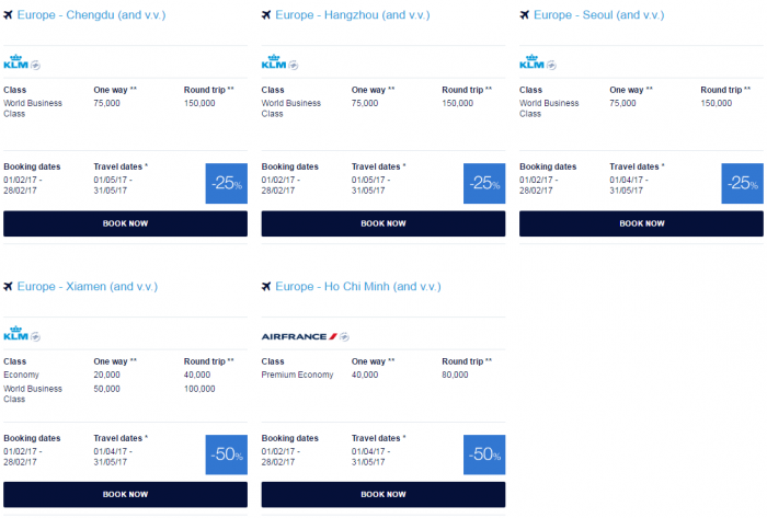 Air France - KLM Flying Blue Promo Awards February 2017 Asia Pacific 3
