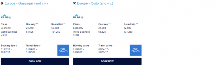 Air France - KLM Flying Blue Promo Awards February 2017 Central & South America 2