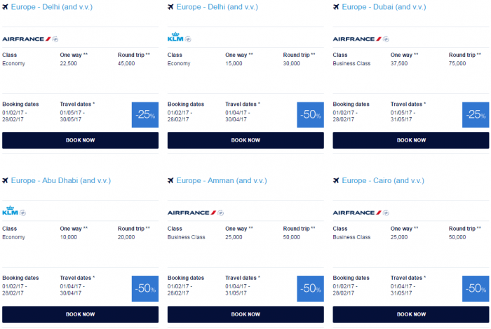 Air France - KLM Flying Blue Promo Awards February 2017 Middle East & Indian Peninsula 2