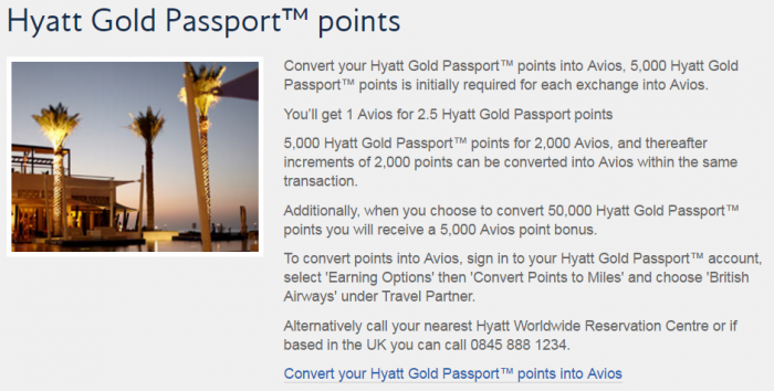 British Airways Execuitve Club Hotel Points To Avios Conversion Bonus February 2017 Hyatt Gold Passport