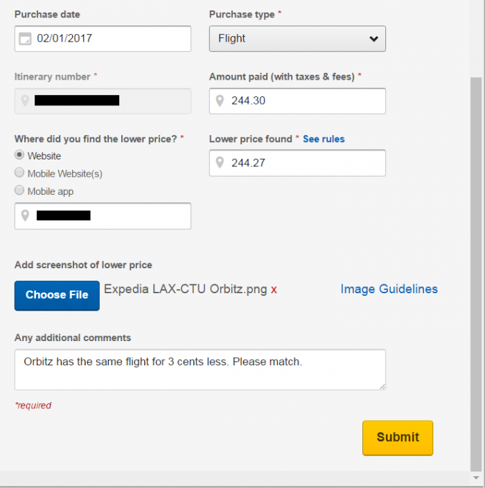 Expedia Best Price Guarantee Form