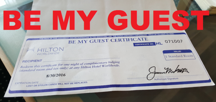 Hilton HHonors Be My Guest Certificate