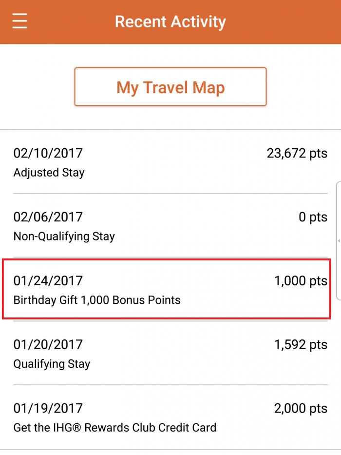 IHG Rewards Club Birthday Gift 1,000 Points 2017