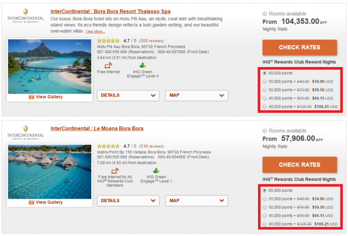 IHG Rewards Club Points + Cash Discount ICs Bora Bora