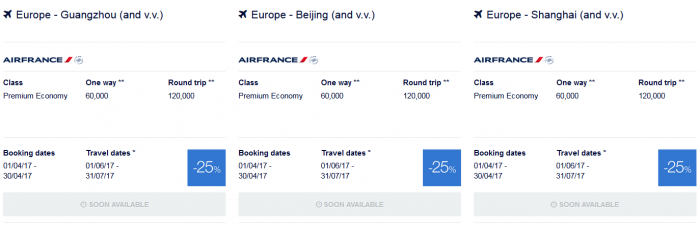 Air France-KLM Flying Blue Promo Awards June - July 2017 Asia Pacific 1