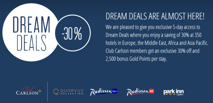 Club Carlson 30 Percent Off + 2500 Bonus Gold Points Europe Middle East Africa Asia Pacific March 2017