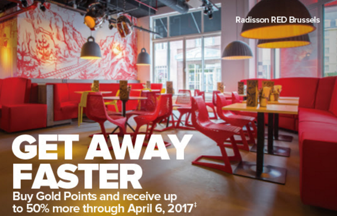 Club Carlson Buy Points Up To 50 Percent Bonus March 6 - April 6 2017