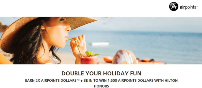 Hilton oHnors Air New Zealand Double Airpoints Dollars March 7 - June 7 2017