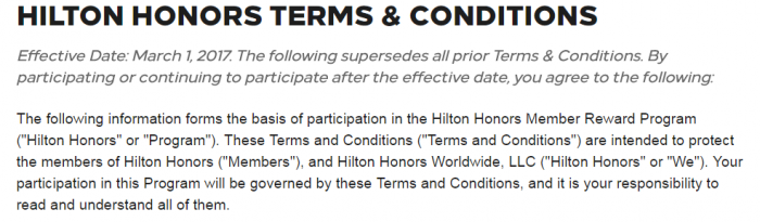 Hilton Honors Terms & Conditions Update March 1 2017