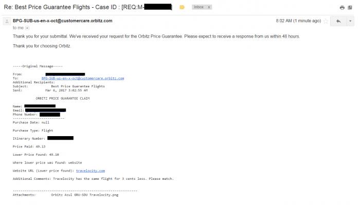 Orbitz Azul GRU-SDU Email Confirmation