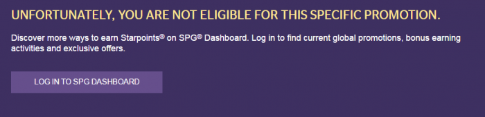 Starwood Preferred Guest (SPG) Amex Promo Not Eligible