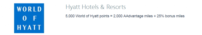 American Airlines AAdvantage Hotel Points To Miles Conversion Bonus April 28 - June 15 2017 World of Hyatt U