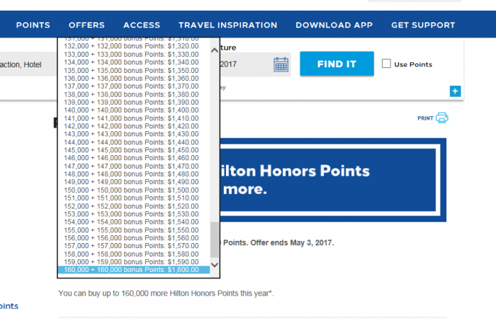 Hilton Honors Buy Points Amount