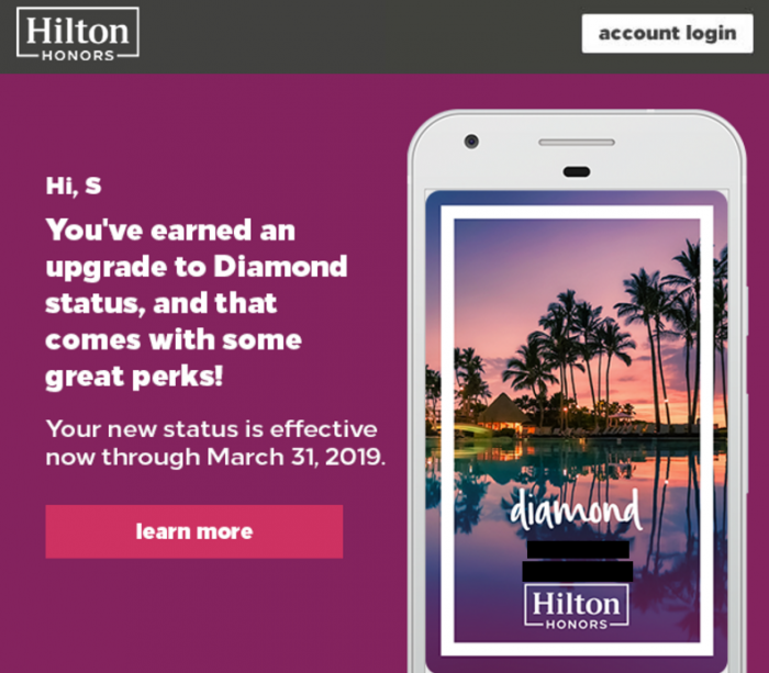 Hilton Honors Diamond Status Email March 25 2017