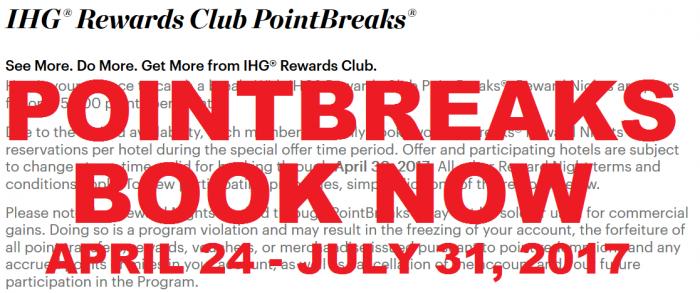 IHG Rewards Club PointBreaks April 24 - July 31 2017 Full List Book Now