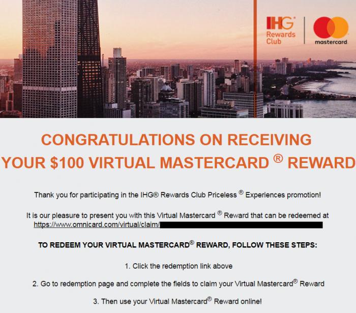 IHG Rewards Club Pricesless MasterCard Promo