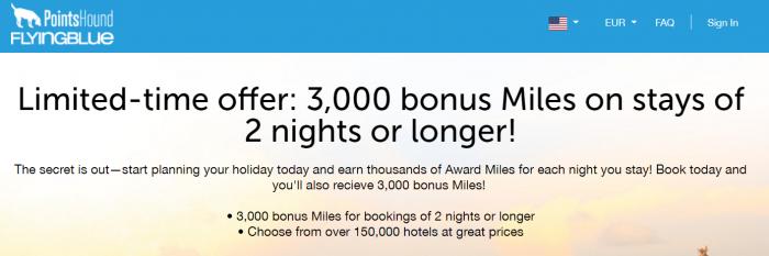 PointsHound Air France-KLM FLying Blue 3000 Bonus Miles