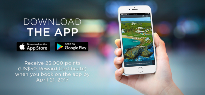 Preferred Hotel Group iPrefer 25,000 Bonus Points First App Booking
