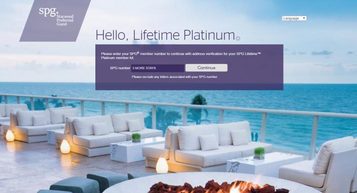 SPG Lifetime Platinum Five More Stays