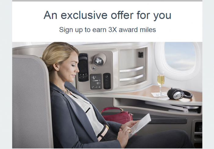 American Airlines AAdvantage Triple Miles Business & First Targeted Offer Through August 31 2017