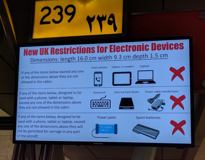 British Airways Electronics Ban Cairo Check In