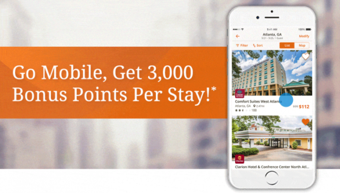 Choice Hotels Choice Privileges 3,000 Bonus Points Per Mobile Booking