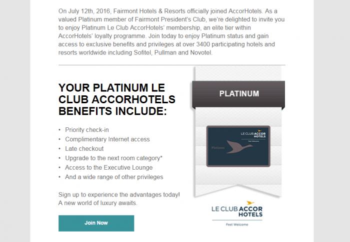 Fairmont President's Club Platinum - Le Club AccorHotels Platinum Email