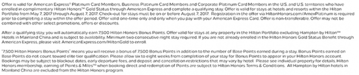 Hilton Honors Amex 7,500 Bonus Points For A Stay May 7 - August 7, 2017 T&Cs
