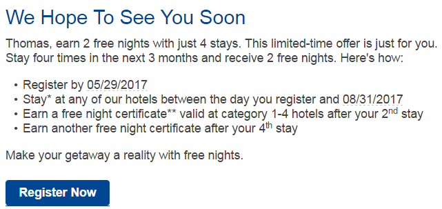 Marriott Rewards Free Nights Offer 2017 Text