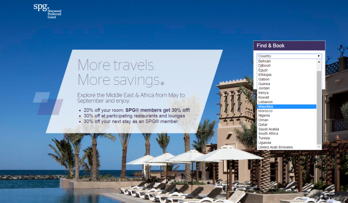 Starwood Preferred Guest (SPG) Middle East & Africa Up To 30 Percent Off Sale