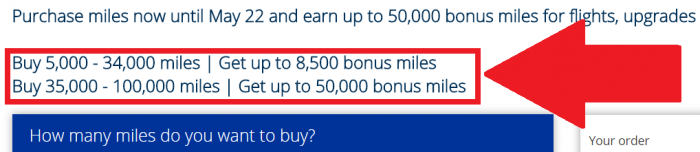 United Airlines Buy MileagePlus Miles Promotion May 2017 Bonus Table