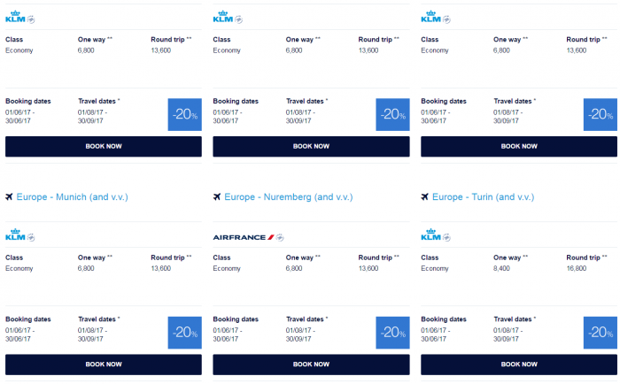 AIr France-KLM Promo Awards June 2017 Europe 1