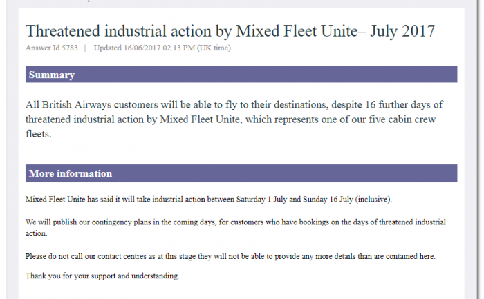 BA Strike Announcement