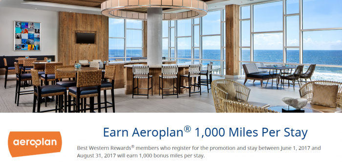 Best Western Rewards Air Canada 1,000 Miles Per Stay June 1 - August 31 2017