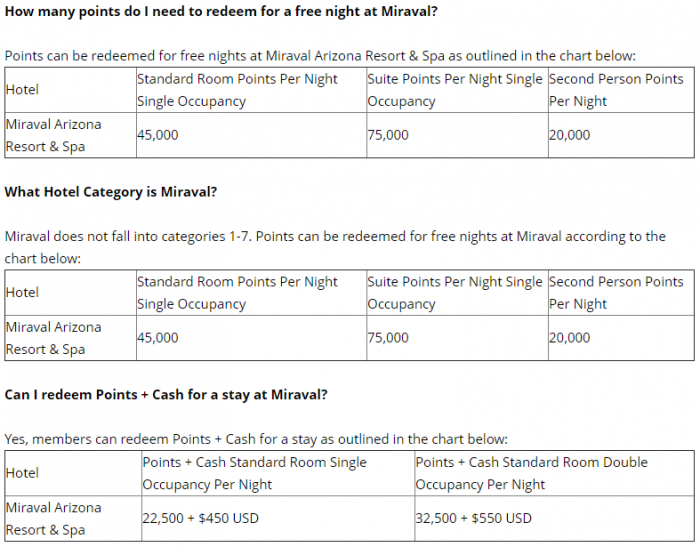 Hyatt - World of Hyatt Miraval Award Chart