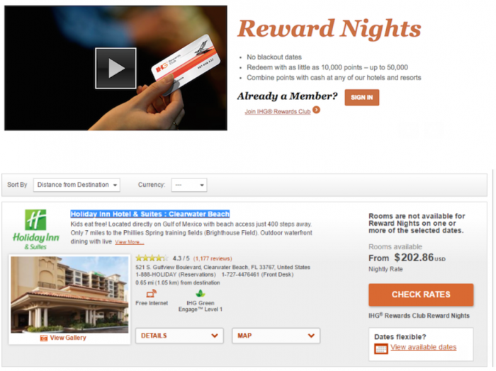 IHG Rewards Club No Award