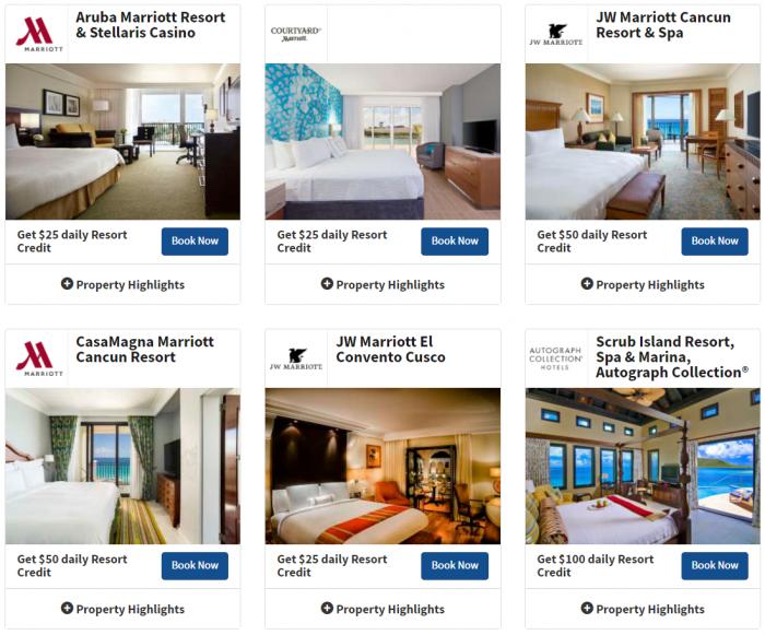 Marriott Rewards Summer Resort Credit Promotion 1
