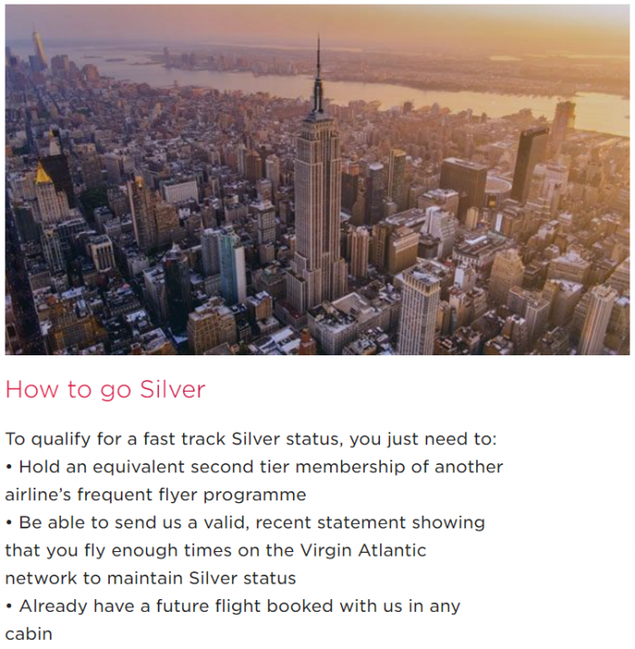 Virgin Atlantic Flying Club Status Match Silver