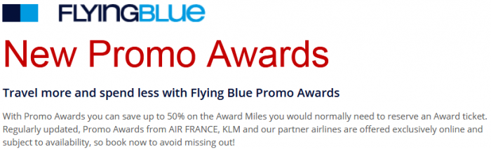 AIr France-KLM Promo Awards July 2017