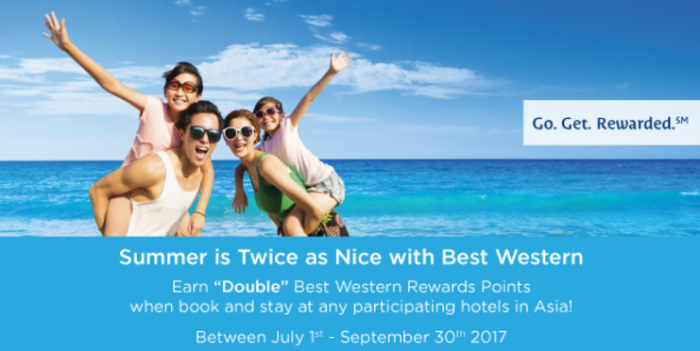 Best Western Rewards Double Points Asia-Pacific July 1 - September 30 2017