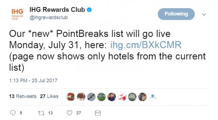IHG Rewards Club PointBreaks July 31 2017