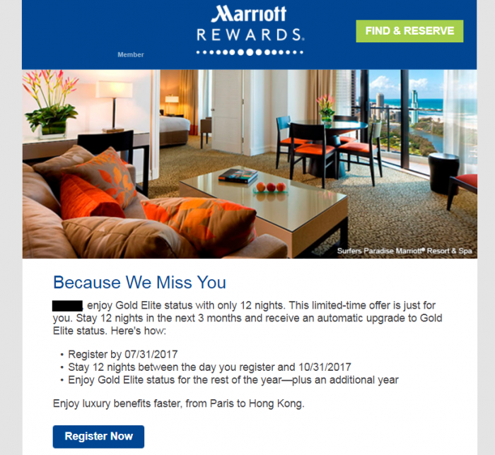 Marriott Rewards Gold Challenge 12 Nights U