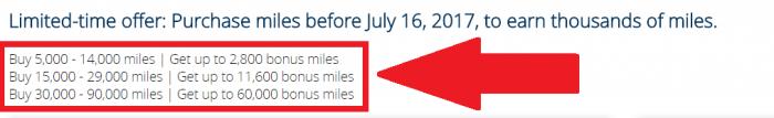 United Airlines MileagePlus Buy Miles July 2017 Promo Bonus Table