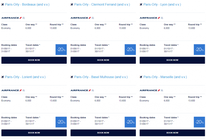Air France-KLM Flying Blue Promo Awards August 2017 M Europe 1