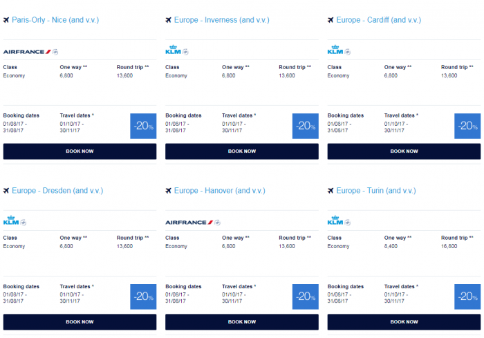 Air France-KLM Flying Blue Promo Awards August 2017 M Europe 2