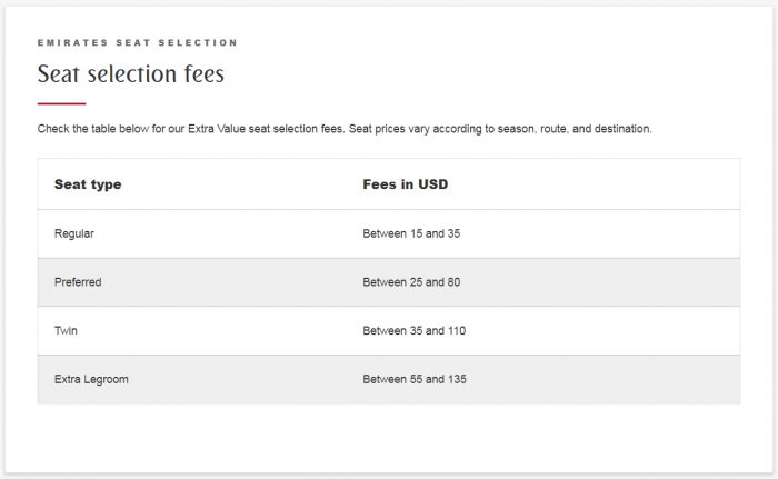 Emirates Seat Selection Fees
