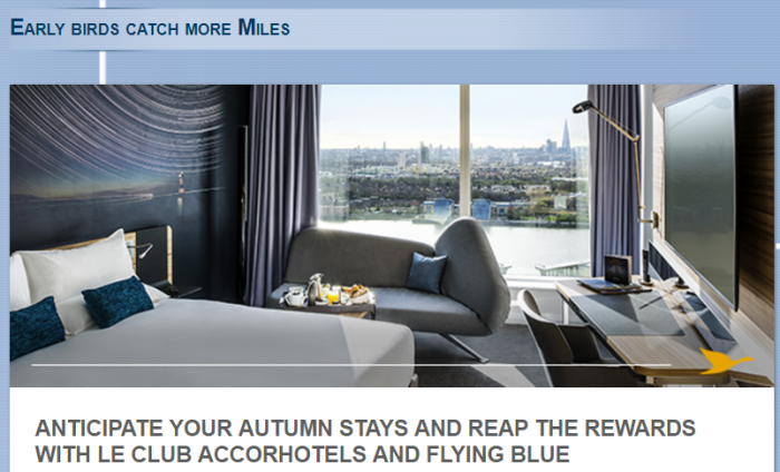 Le Club AccorHotels Air France-KLM Flying Blue Triple Miles October 1 - December 31 2017